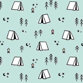 Camping Pattern on Mint Background