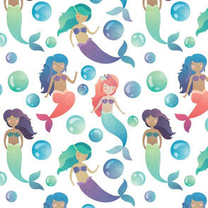 Watercolor Mermaids on a White Background