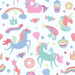 Unicorns and Magical Design Elements on Light Blue Background