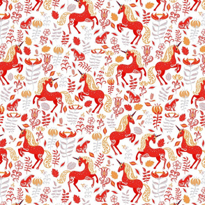 Fabulous red unicorns, rabbits with ornaments, flowers and leaves on a white background.