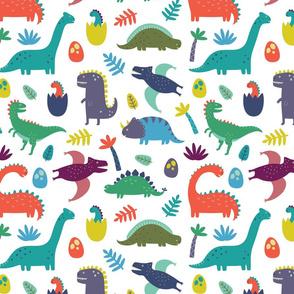 Dinosaur Pattern on White Background