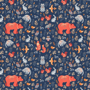Fabulous animals in the wild forest. Bears, rabbits, foxes, raccoons, owls.
