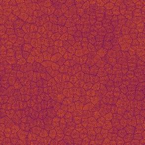 "simplified petoskey stone, karmic orange on purple, 1/3"""