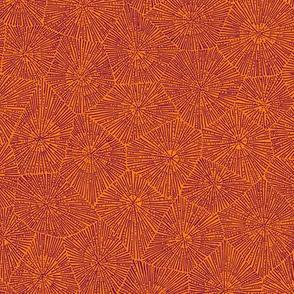 extra-large petoskey stone, karmic purple on orange