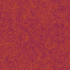 extra-large petoskey stone, karmic orange on purple
