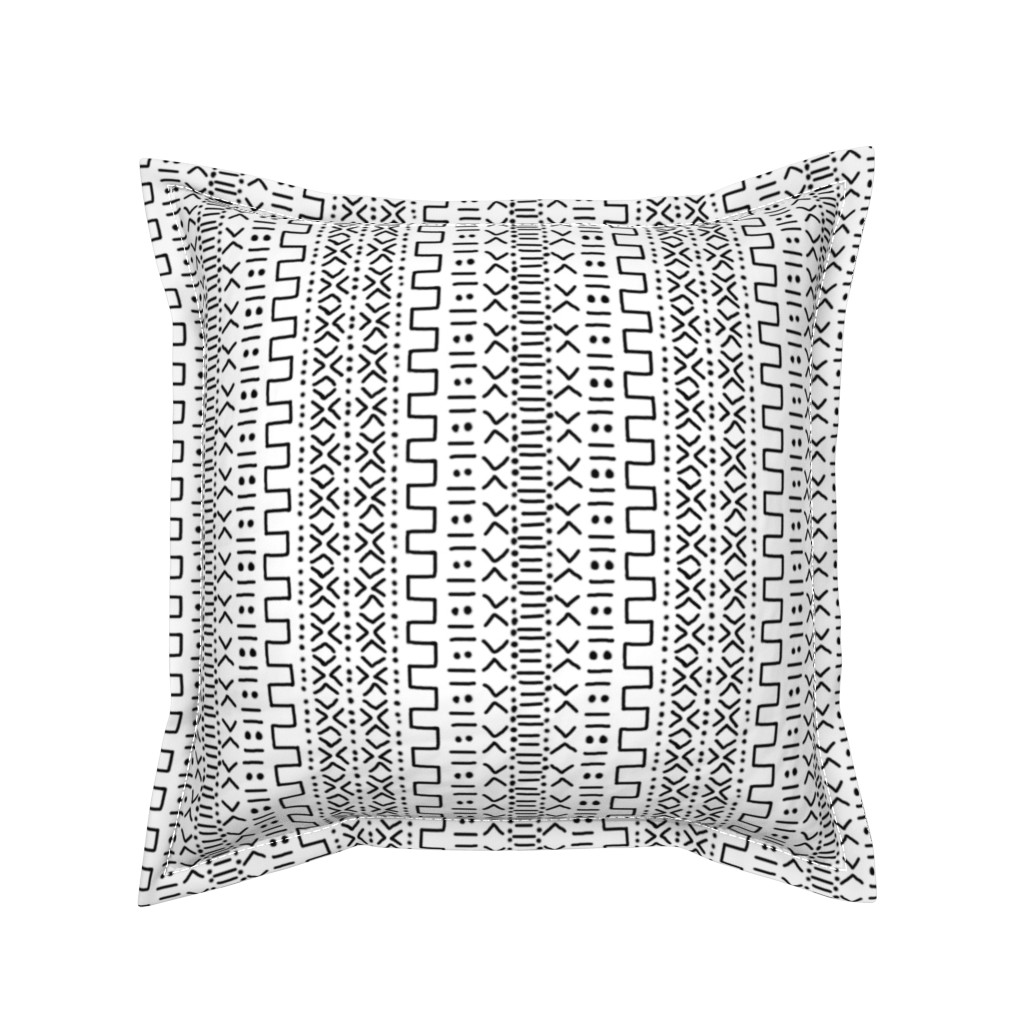 Serama Throw Pillow featuring Black on White Mudcloth Inspired by eclectic_house