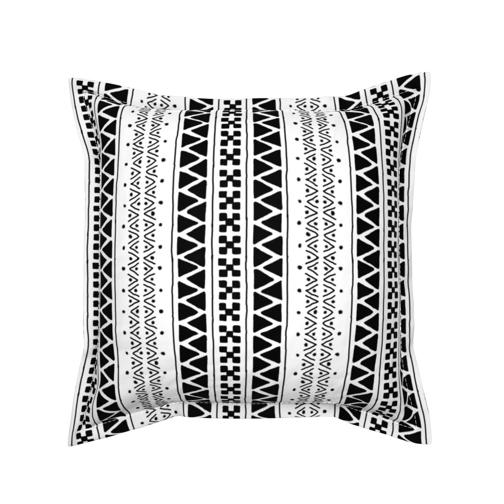 Serama Throw Pillow featuring Black on White Mudcloth Inspired 6 by eclectic_house