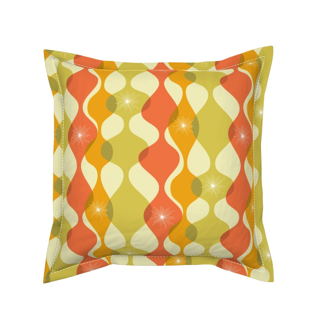 Serama Throw Pillow featuring Mid-century modern fall colours by roofdog_designs