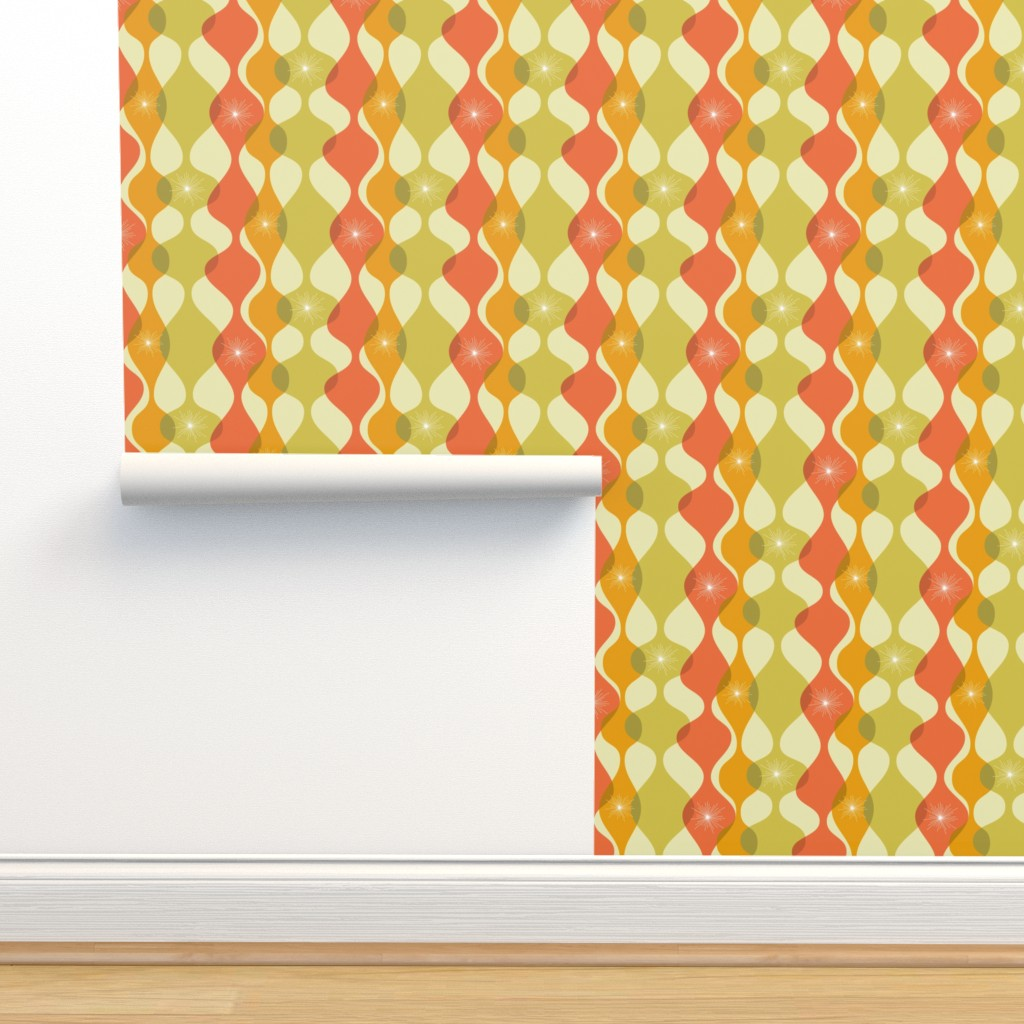 Isobar Durable Wallpaper featuring Mid-century modern fall colours by roofdog_designs