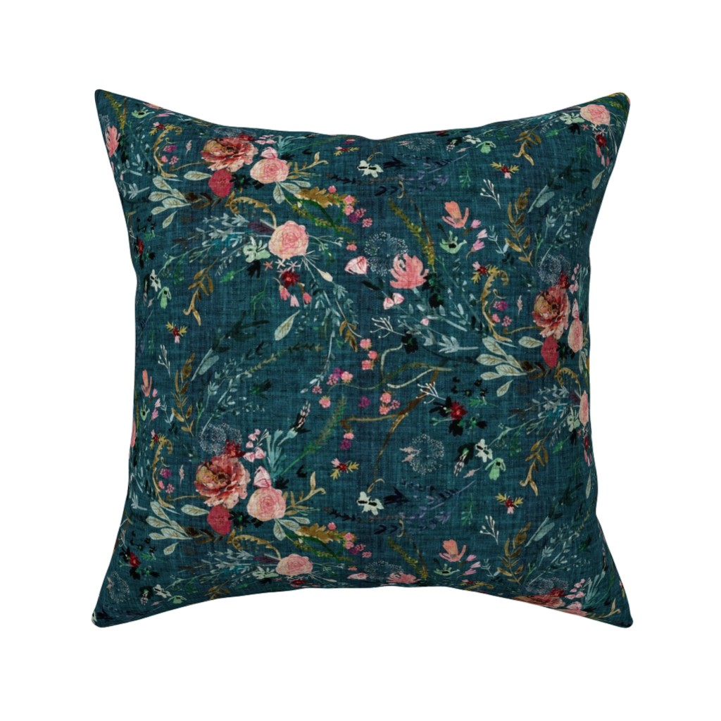 Catalan Throw Pillow featuring Fable floral (teal) MED by nouveau_bohemian