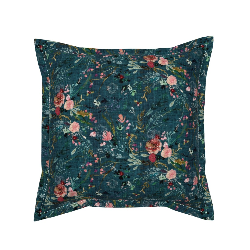 Serama Throw Pillow featuring Fable floral (teal) MED by nouveau_bohemian