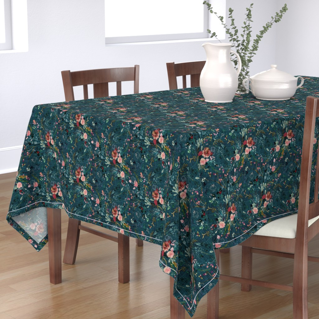 Bantam Rectangular Tablecloth featuring Fable floral (teal) MED by nouveau_bohemian