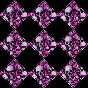 Pink skull rockabilly