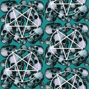 Teal skull pentagram