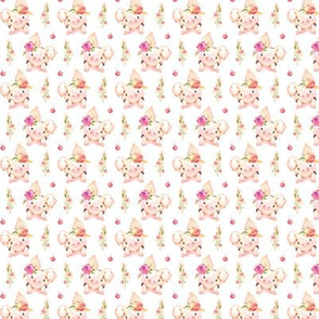 TINY Miss Piglet - Baby Girl Pig with Flowers & Apples