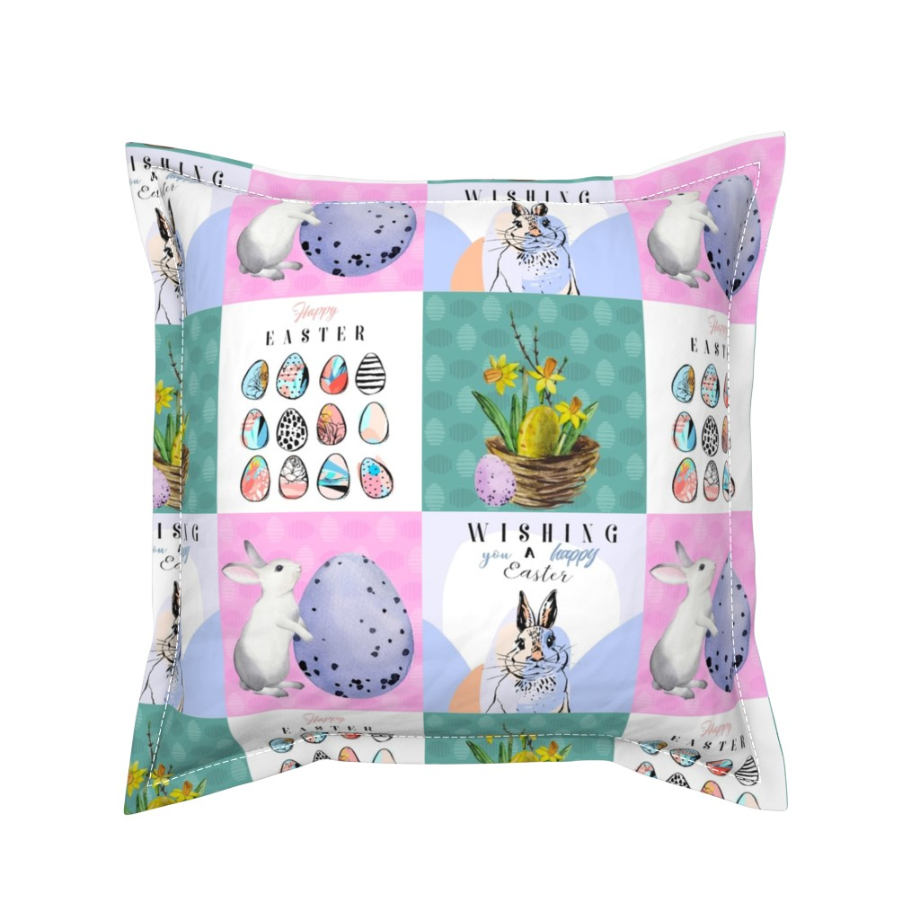 Serama Throw Pillow featuring Happy Easter Patchwork by floramoon