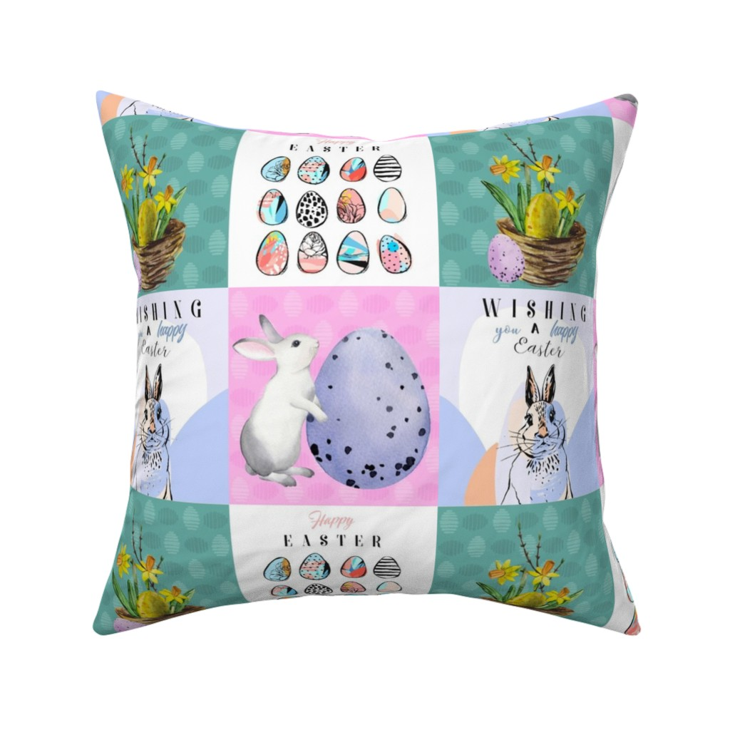Catalan Throw Pillow featuring Happy Easter Patchwork by floramoon
