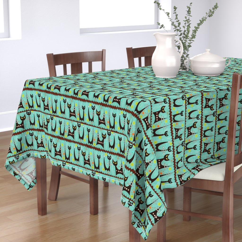 Bantam Rectangular Tablecloth featuring Space Age Atomic Cats by little_bunny_sunshine