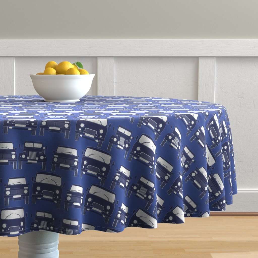 Malay Round Tablecloth featuring retro Russian cars by minyanna