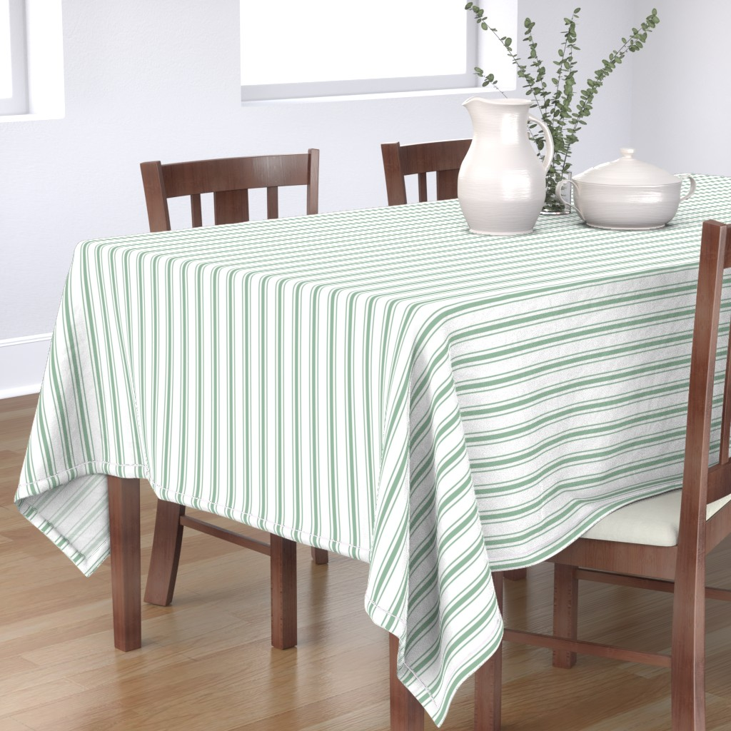 Bantam Rectangular Tablecloth featuring Mattress Ticking Narrow Striped Pattern in Moss Green and White by paper_and_frill