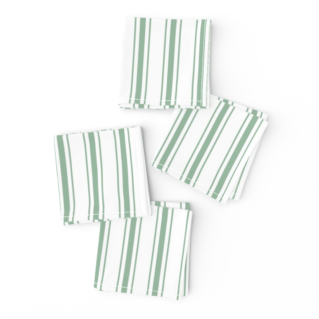 Frizzle Cocktail Napkins featuring Mattress Ticking Narrow Striped Pattern in Moss Green and White by paper_and_frill