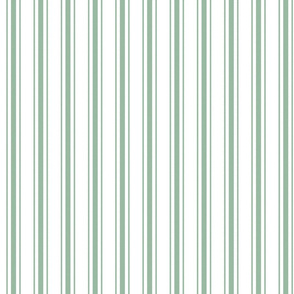 Mattress Ticking Narrow Striped Pattern in Moss Green and White