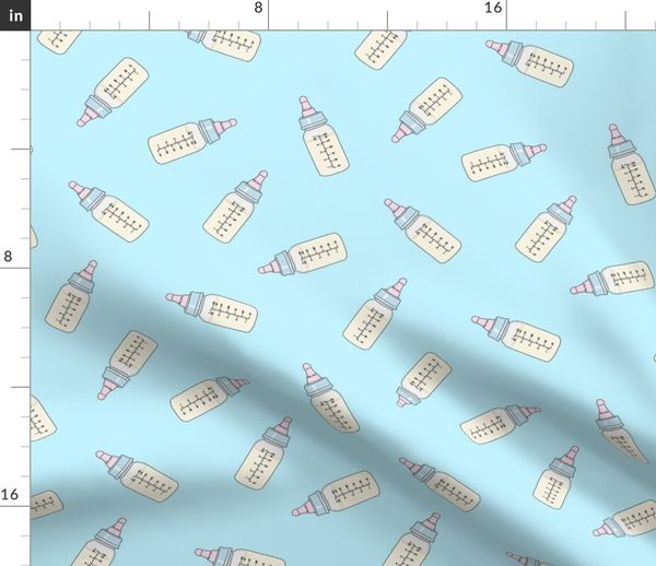 Fabric by the Yard Baby Bottle, Blue