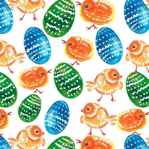 Watercolor easter pattern with eggs and chickens
