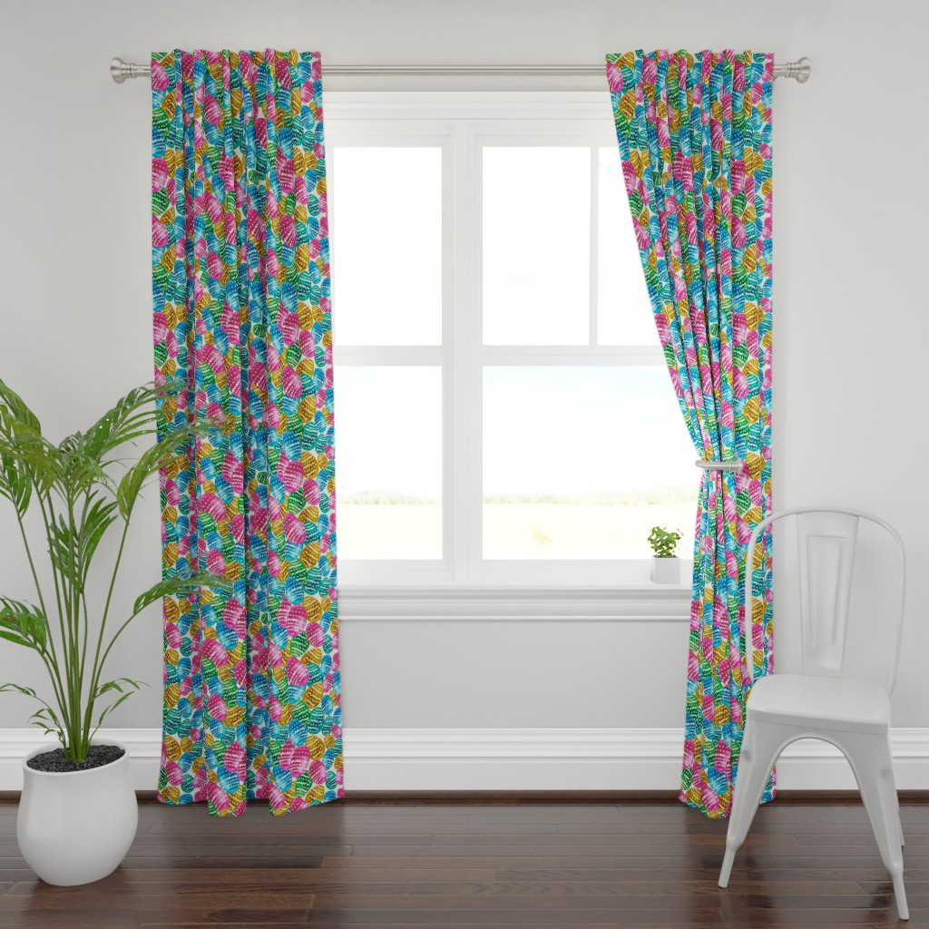 Plymouth Curtain Panel featuring Colorful watercolor easter pattern with easter eggs. by trishamcmillan