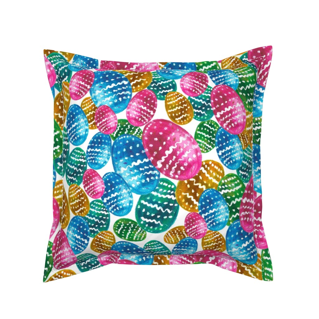 Serama Throw Pillow featuring Colorful watercolor easter pattern with easter eggs. by trishamcmillan