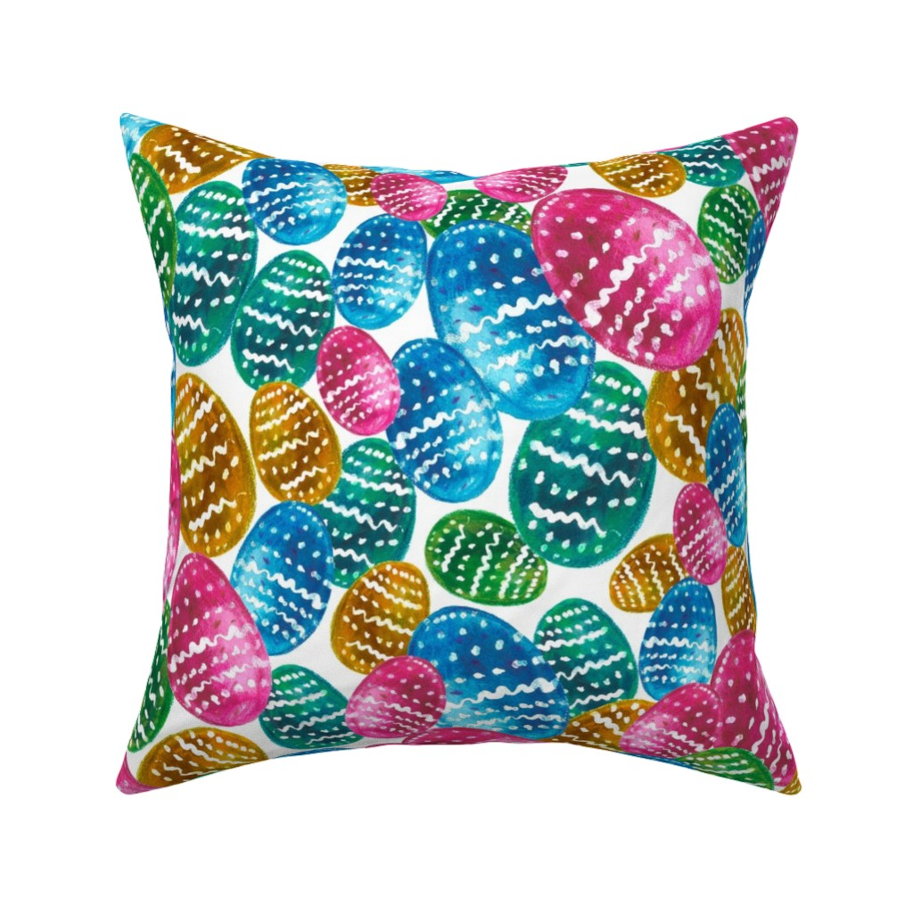 Catalan Throw Pillow featuring Colorful watercolor easter pattern with easter eggs. by trishamcmillan