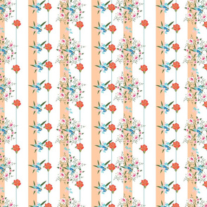 Floral pattern with roses, meadow flowers and vertical stripes
