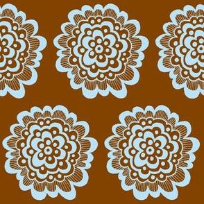 Flor - Blue on Brown