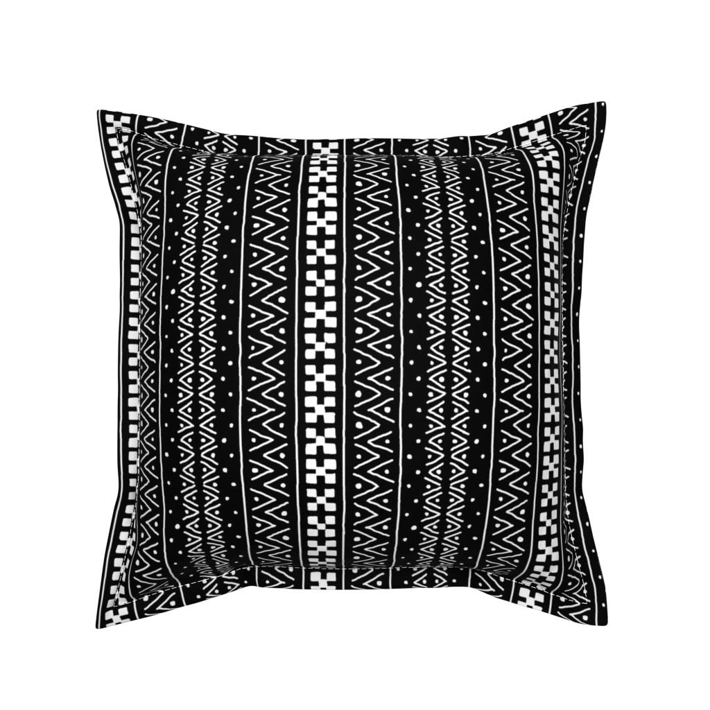Serama Throw Pillow featuring White on Black Mudcloth Inspired 7 by eclectic_house