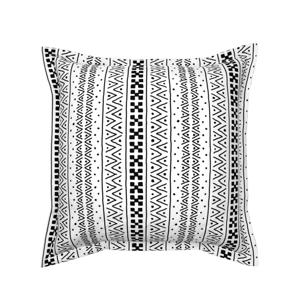 Serama Throw Pillow featuring Black on White Mudcloth Inspired 7 by eclectic_house