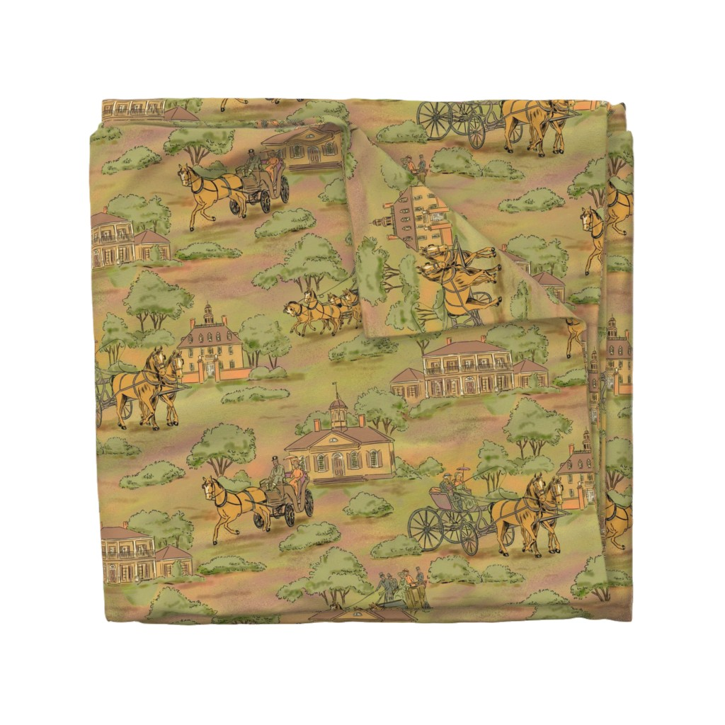 Wyandotte Duvet Cover featuring Horse and Carriages Subdued by vinpauld