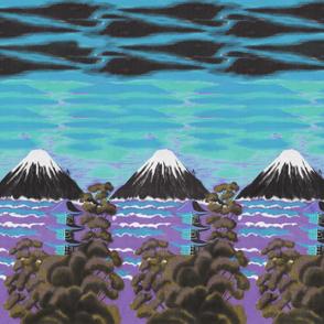 Mount Fuji Blue Sunset Border Print