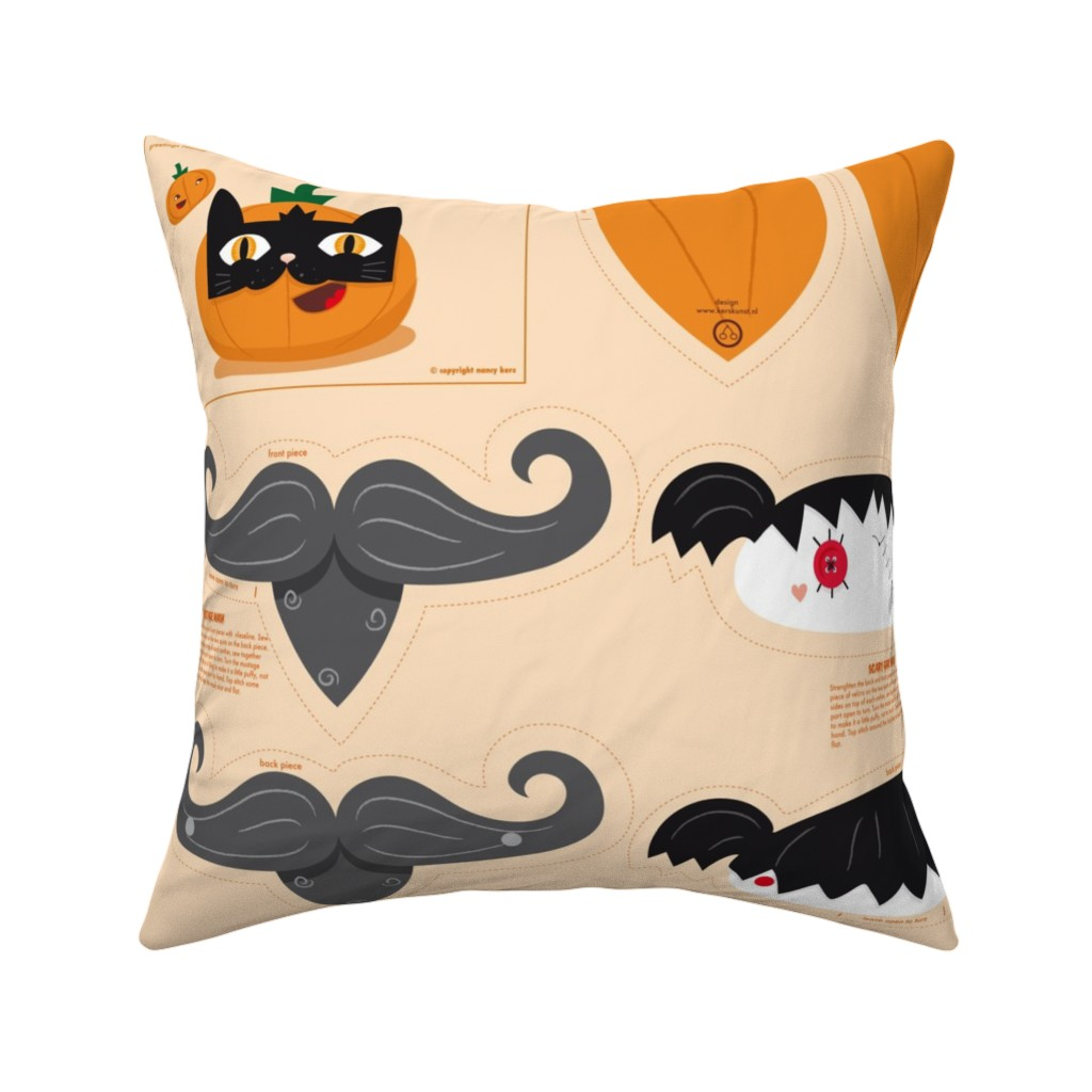 Catalan Throw Pillow featuring Dress up your Jack o'lantern  by verycherry