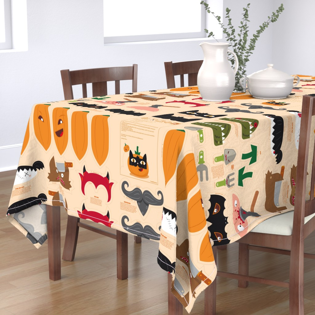 Bantam Rectangular Tablecloth featuring Dress up your Jack o'lantern  by verycherry