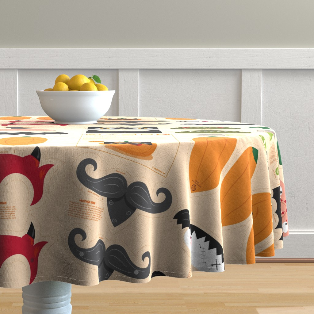 Malay Round Tablecloth featuring Dress up your Jack o'lantern  by verycherry