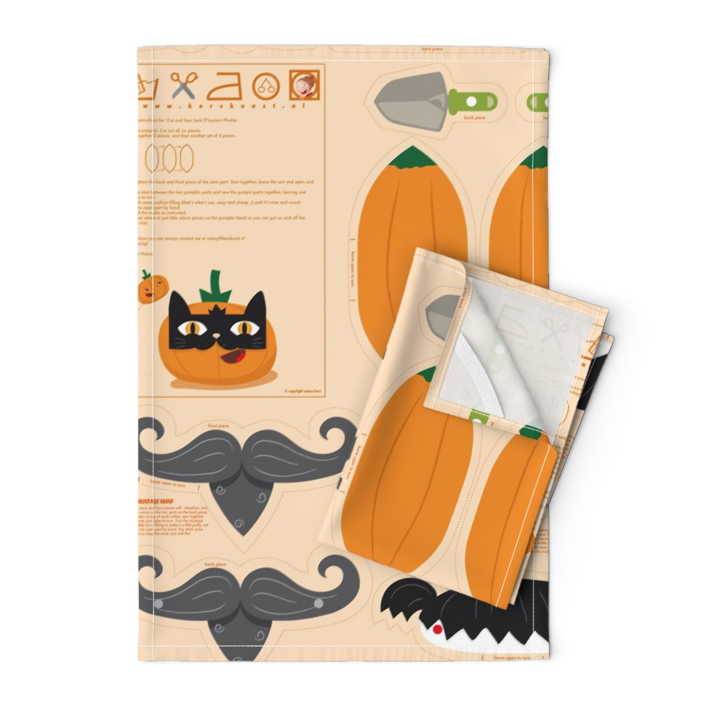 Orpington Tea Towels featuring Dress up your Jack o'lantern  by verycherry