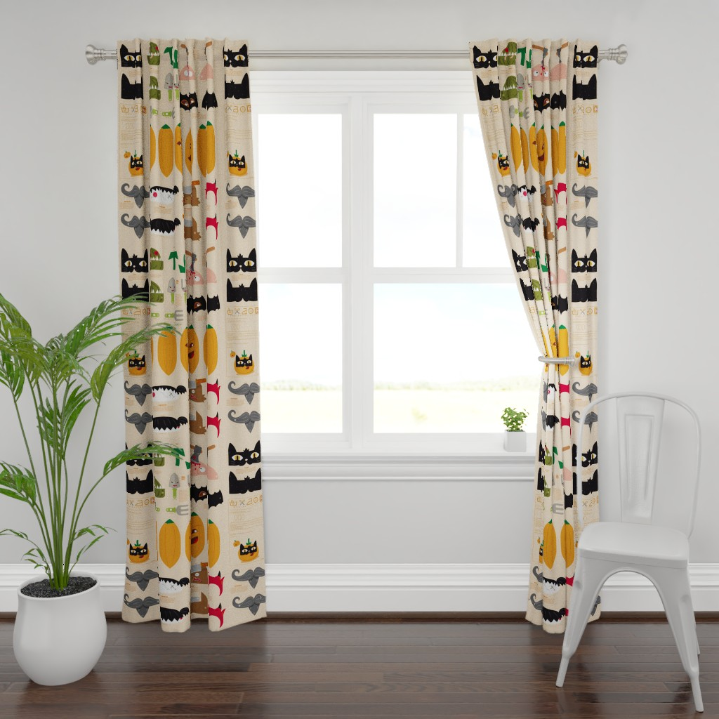 Plymouth Curtain Panel featuring Dress up your Jack o'lantern  by verycherry