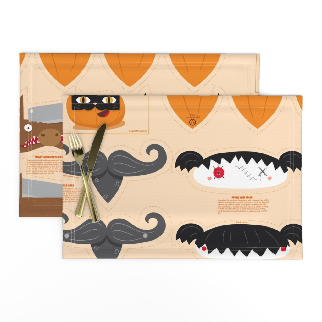 Lamona Cloth Placemats featuring Dress up your Jack o'lantern  by verycherry