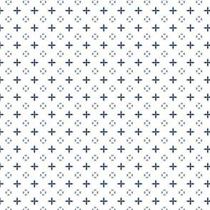 Ditsy print in navy on white