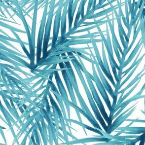 Aqua Watercolor Palm Leaves Pattern