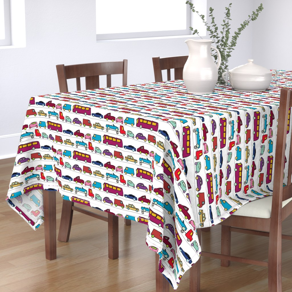 Bantam Rectangular Tablecloth featuring bumper to bumper traffic by vintage_style