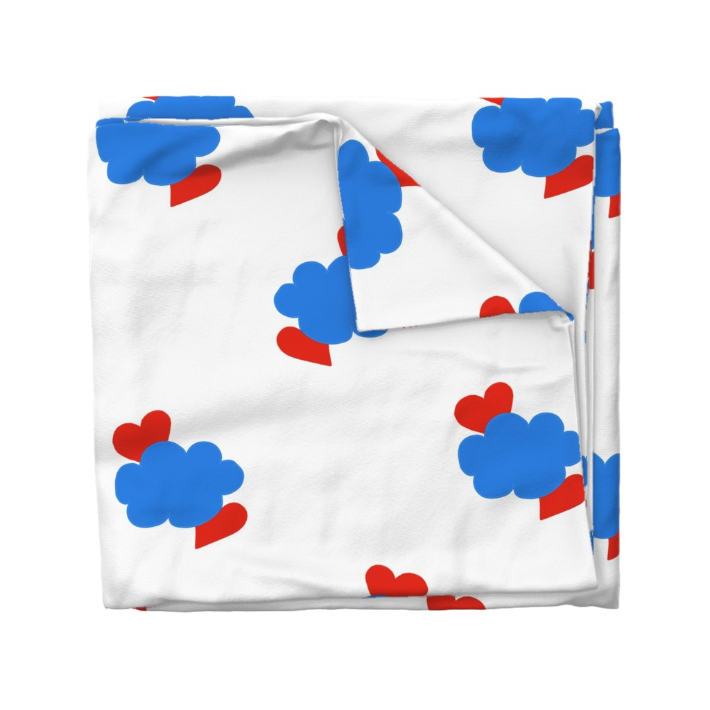 Wyandotte Duvet Cover featuring Cloud Hearts Red, White and Blue Sky by paper_and_frill