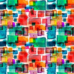 orange and teal watercolor squares