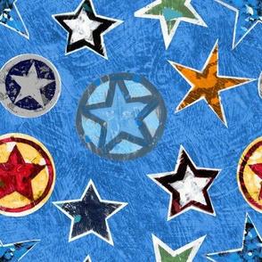 Super Stars on Blue Superhero