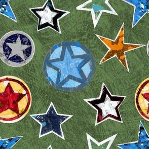 Super Stars on Green Superhero